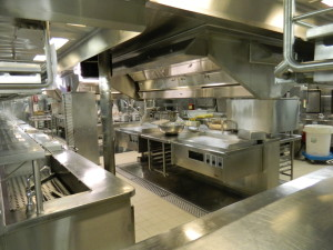 The galley aboard the Oasis of The Seas and Allure of The Seas span not one, but three decks. The picture shown here shows one of the food preparation areas.