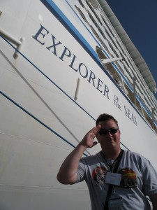 Yours truly, David Kriso, standing near the bow of the Explorer of The Seas. Taken in St. Maarten.
