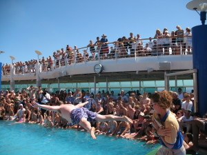 "Yours truly again, participating in the ""Men's International Belly-Flop Competition"" aboard Royal Caribbean's Explorer of The Seas."