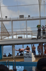 "Yours truly, participating in the ""Men's International Belly-Flop Competition"" at the AquaTheater on board Royal Caribbean's Oasis of The Seas."