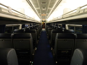 The  Business Class car is the most comfortable car on the train. From reclining seats, to foot rests, to curtains on the windows, it's the place to be.