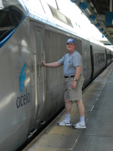 Author David Kriso at the cab door of an Amtrak Acela Express train at Washington DC's Union Station in May 2012.