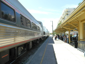 Amtrak's Silver Star, train #81, arrives at the Kissimmee station in March 2012. Kissimmee is twenty minutes from the Walt Disney World Resort.