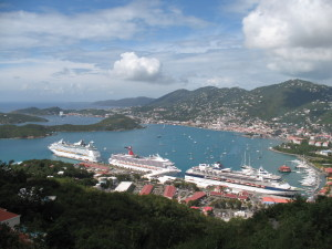 It's a busy day in St. Thomas, as cruise ships fully occupy the Havensight pier. Photo taken from Paradise Point.