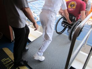 Aboard most cruise lines, wheelchair assistance is provided upon request. Guests must request wheelchair assistance via the online check-in process.