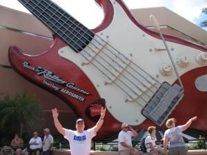David Kriso in front of Rock 'N' Roller Coaster Starring Aerosmith at Disney's Hollywood Studios.