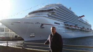 David Kriso, in front of the Carnival Vista during her inaugural debut in New York City.